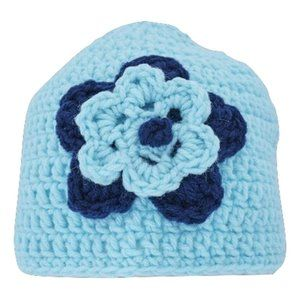 🆕Hand-Crocheted Aquamarine Flower Hat